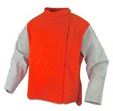 Orange Proban High Vis Welding Jacket, chrome leather sleeves Class D LGE